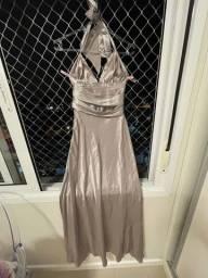 Vestido longo em prata em seda 36