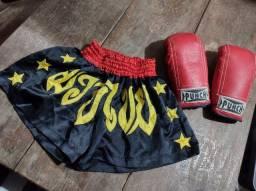 Conjunto Luva Punch + Bermuda Feminina Muay Thai 38/40