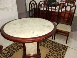 Mesa 4 cadeiras madeira e mármore Bege Bahia