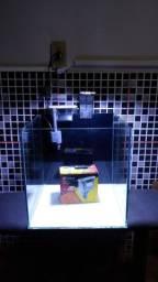 Aquário cubo 32cm mais filtro e luminária