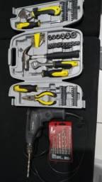 Vendo kit de ferramentas e uma excelente furadeira Makita