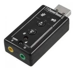 Adaptador de som USB 7.1 Adpatdor audio PC