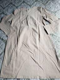Vestido de Linho Importado nas cores Caqui ou Azul.