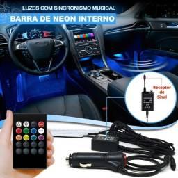 "Título do anúncio: ""PoaCrmEletronica"" Led Interno Rgb Automotivo Tuning Neon 7 Cores Com Controle"