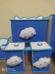 Kit higiene menino azul nuvens