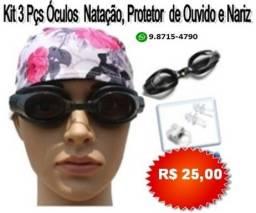 Óculos De Natação + Protetor De Ouvido + Protetor De Nariz Adulto
