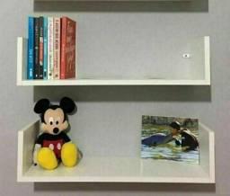 2 Prateleiras U Suspenso  Decorativa MDF Branca 60x15x20cm Livro Casa Loja Cozinha