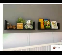 Prateleira 2 Peças MDF Preto Suspenso 60x15x15cm Sala Quarto Cozinha Banheiro Loja