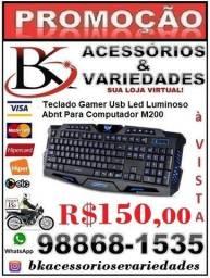 Teclado Gamer Usb Led Luminoso Abnt Para Computador M200-(Loja BK Variedades) Promoção