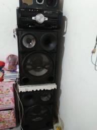 Som completo com amplificador de duas placas de 400 rms