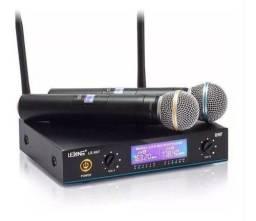 Título do anúncio: Microfone Sem Fio Duplo Wireless Uhf Digital Bivolt 50mt Lelong LE-907