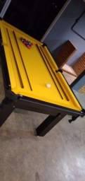 Título do anúncio: Mesa Tentação de Bilhar Tecido Amarelo Mod. 380MJ4BJ