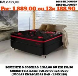 Título do anúncio: Conjunto Box Mola Ensacada D45 Queen - Cama Casal 1,58- Colchões+Base- Saldão MS