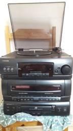 Som toshiba cm-7215CD disco fita e CD usado