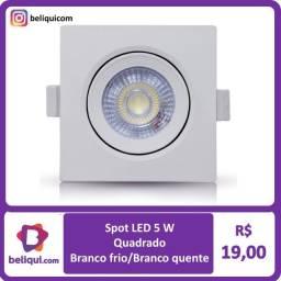Título do anúncio: Spot LED Direcionável 5W | Quadrado ou Redondo | Branco Frio ou Branco Quente