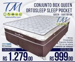 Título do anúncio: CAMA - CONJUNTO QUEEN MOLAS ENSACADAS 25cm + BASE BOX (FRETE GRÁTIS).