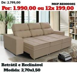 Título do anúncio: Sofa Retratil e Reclinavel 2,70 em Molas e Sude 03 Lugares-Grande- Barato -Promoção em MS