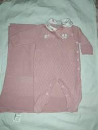Saída de maternidade noruega macacão + manta menina rose