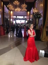 Vestido de festa seda longo vermelho