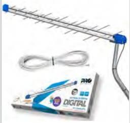 Antena para tv uhf digital banda total +mastro+cabo 16m 14 dBi 28 elementos