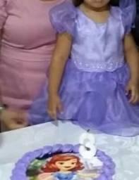 Vestido para aniversario personagem Shofia ( 3 a 4 anos)