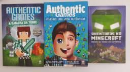 Kit c 3 livros Authentic Games e Minecraft