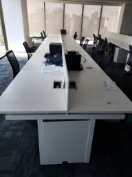 Estação de Trabalho em MDF Branco p/ 16 pessoas Office 73cm x 960cm x 140cm