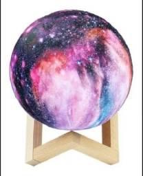 Luminária Galaxia 3d Lua Abajur Usb