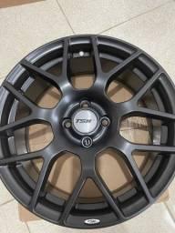Título do anúncio: Vendo jogo de rodas TSW 17x70 4x100 preto