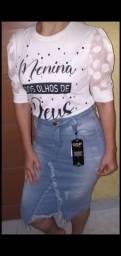 Saias jeans evangélica com Laicra.