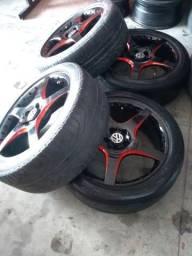 Jogos de roda 17 5furos + pneus 215/45