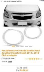 Aro Cromado Moldura Farol de Milha Chevrolet Cobalt