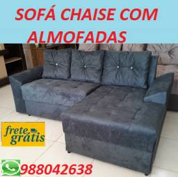 Super Promoção de Sofa Chaise Com Almofadas Novo Com Frete Gratis!!!