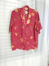 Linda blusa nova vermelha estampada tamanho G Bazar Online