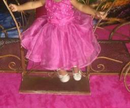 Vestido infantil de Centin C Perolas(Pink)