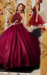 Vestido de debutante 15 anos 2 em 1 várias cores