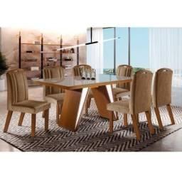 Título do anúncio: Conjunto Sala de Jantar Mesa e 6 Cadeiras Ravena LJ Móveis<br><br>