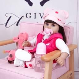 Título do anúncio: Boneca Reborn Brinquedo Girafinha Princesa 48cm Cabelão Longo Presente Crianças
