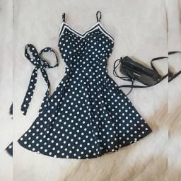 Vestido de bolinhas azul ( acompanha a cinta )