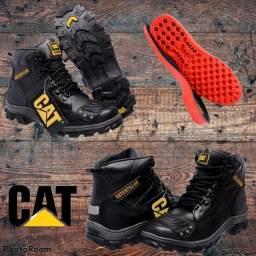 Bota Coturno Motoqueiro CAT, Paunilha em Gel, Moto Caterpillar100% Couro calçados