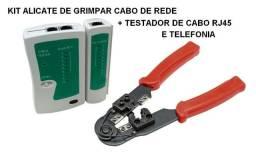 Kit Alicate de Grimpar cabos de rede + Testador com bateria