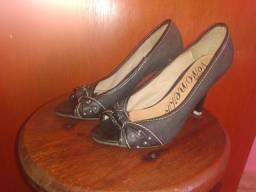 Sandália de salto efeito jeans escuro 34