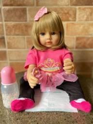 Título do anúncio: Boneca Bebê Reborn toda em Silicone loira Olhos Azuis Realista Nova (aceito cartão )