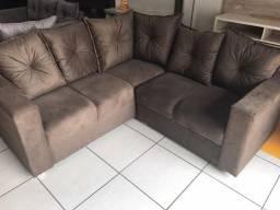 Sofa De Canto Animalle , Suede, 1,80x1,80m ,Novo**