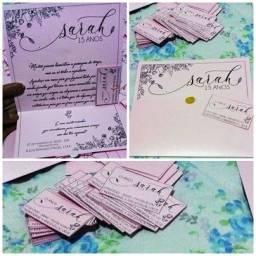 Convites de casamento/aniversário (impressão preta em papel colorido)