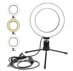 Título do anúncio: Ring Light De Mesa Iluminador De Led Tripé 6 Polegadas 16cm<br><br><br>
