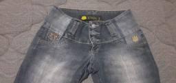 Vendo calça jeans e saia tecido