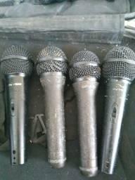 7 Microfone + cabo cano 2+ cabo banana cano