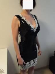 Título do anúncio: Vestido Festa Paetê E Renda Exclusivo! Preto / Branco