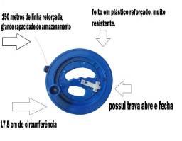 Carretel Plástico Reforçado Com Enrolador E 150 Metros Linha
